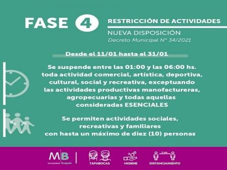 RIGE EN BRAGADO LA FASE 4 Y EL DECRETO MUNICIPAL CON LA RESTRICCION HORARIA